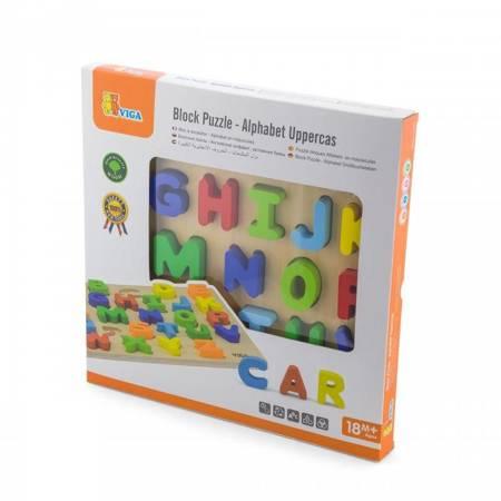 Drewniana Układanka Alfabet Literki  Puzzle Edukacyjne Viga Toys