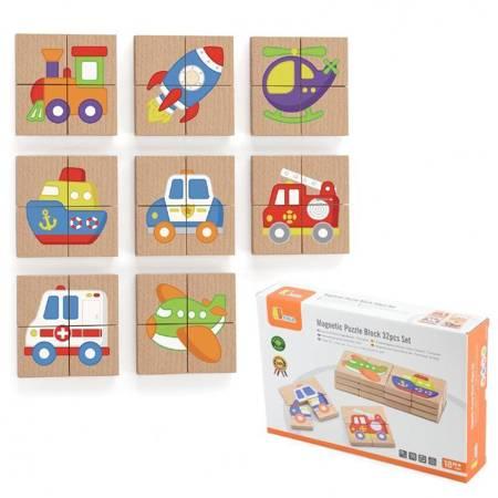 Drewniane Puzzle Magnetyczne Pojazdy Viga Toys