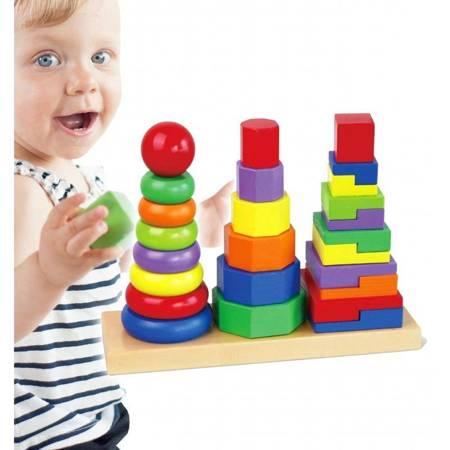 Drewniane klocki Układanka Piramidki Viga Toys