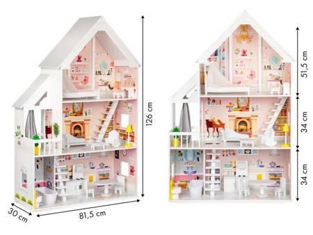 Drewniany Domek dla lalek Barbie Rezydencja Melody