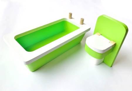 Klasyczny Neonowy Zestaw Łazienkowy Wanna i WC dla Barbie