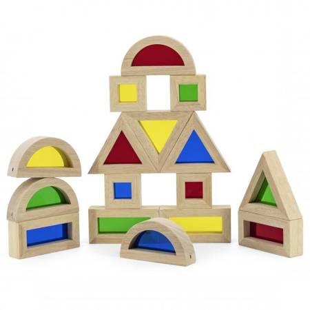 VIGA Drewniane Kolorowe Klocki Zestaw 16 elementów