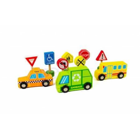 Zestaw Drewniane Pojazdy i Znaki Drogowe TOOKY TOY